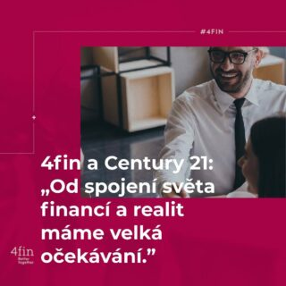 Na přelomu roku došlo ke klíčovému spojení společností 4fin a Century 21 v oblasti realit. 4fin měl vizi pokrýt komplexní majetkové a finanční poradenství s odborníky v každém odvětví a stejnou představu o svém fungování mělo i Century 21. Tomáš Martinovský, tvůrce obchodních strategií za 4fin, má od spojení světa financí a realit velká očekávání. Přečtěte si celý rozhovor v linku v BIO. #BetterTogether #finance #4fin #reality #4finreality